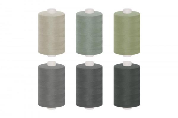 dalipo, Polyester-Nähgarn, 1000m, Farbgruppe grau & schwarz
