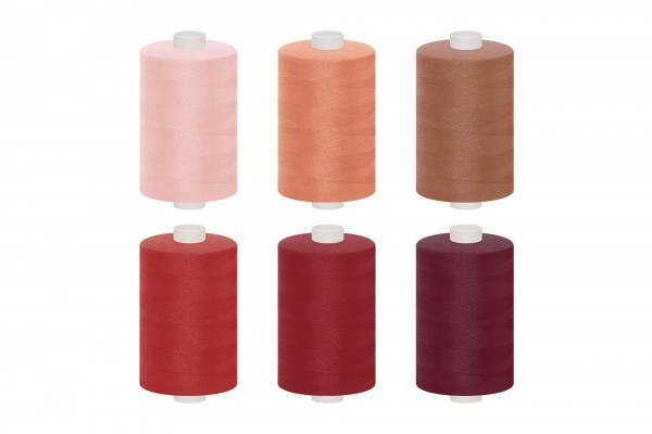 dalipo, Polyester-Nähgarn, 1000m, Farbgruppe rosa, rot & pink