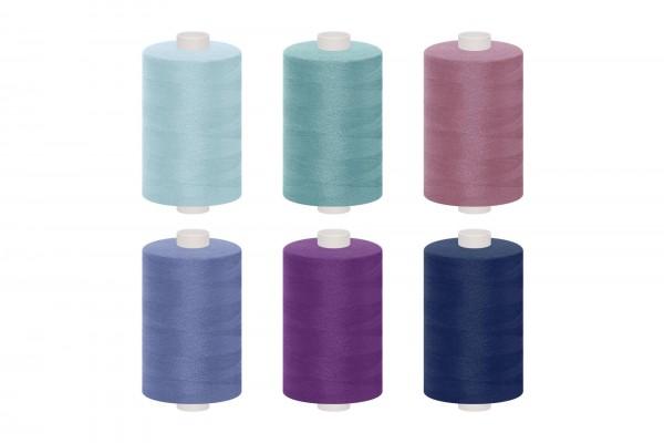 dalipo, Polyester-Nähgarn, 1000m, Farbgruppe blau, türkis & violett