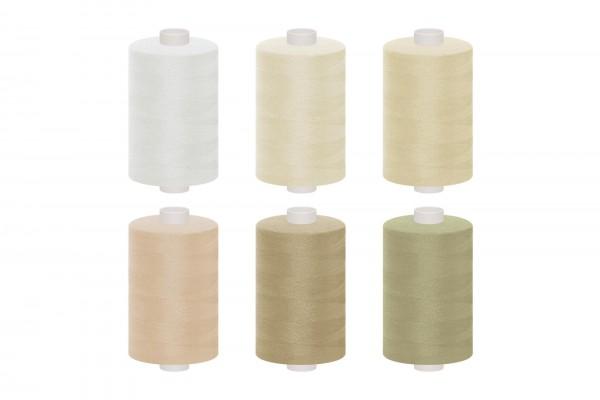 dalipo, Polyester-Nähgarn, 1000m, Farbgruppe beige & weiß